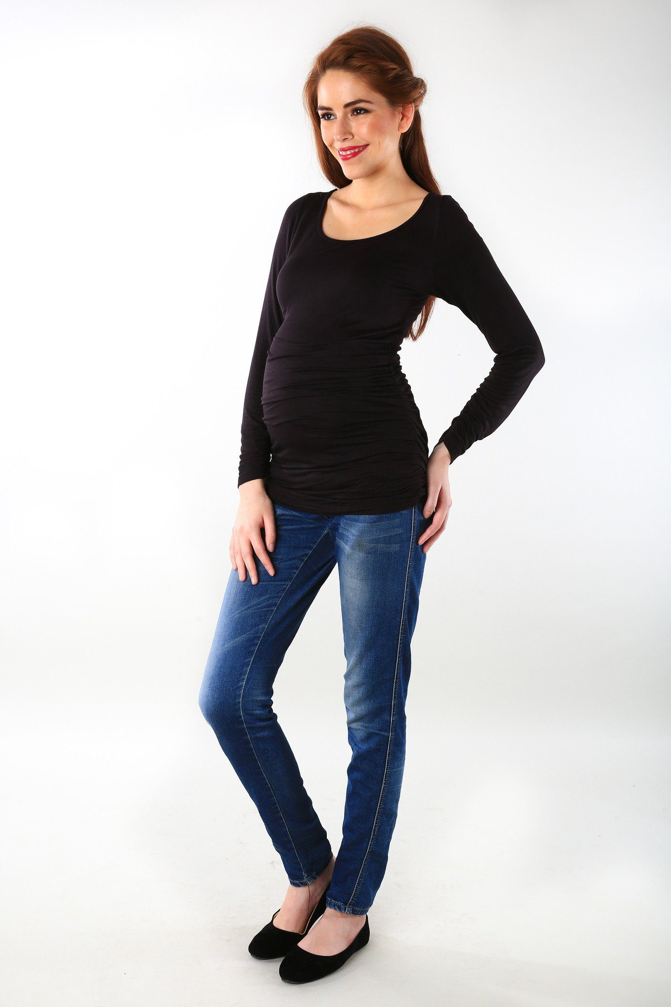 Long Sleeve Gathered Classic Black Maternity Top - MOMZJOY.COM - 3