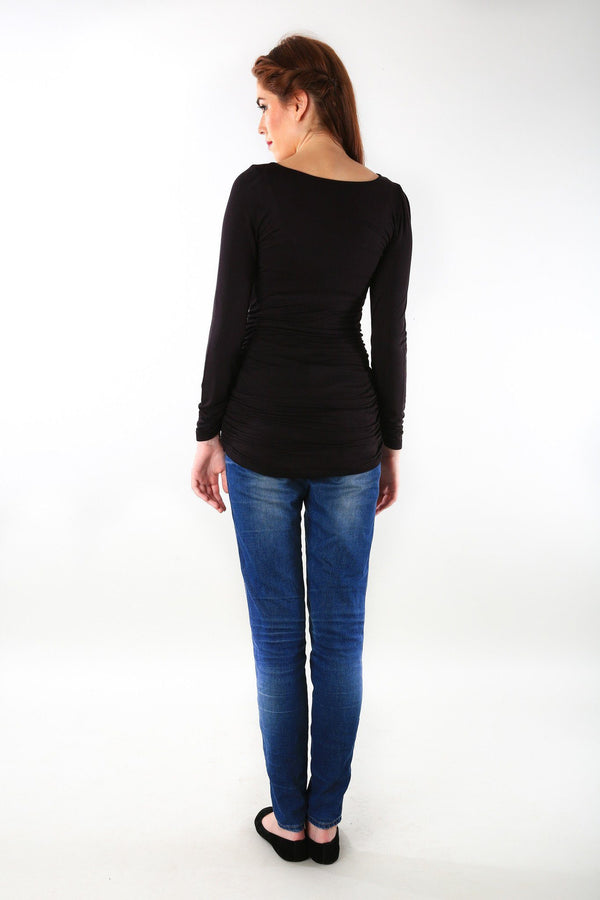 Long Sleeve Gathered Classic Black Maternity Top - MOMZJOY.COM - 4