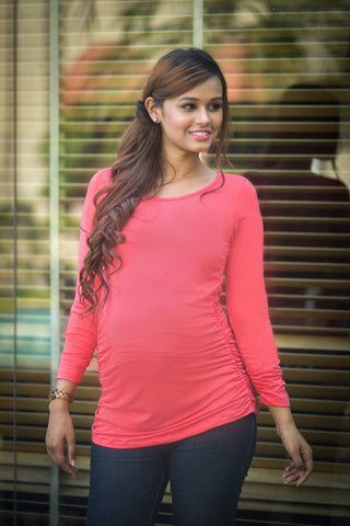 Long Sleeve Gathered Coral Maternity Top