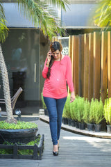 Long Sleeve Gathered Coral Maternity Top - MOMZJOY.COM - 2