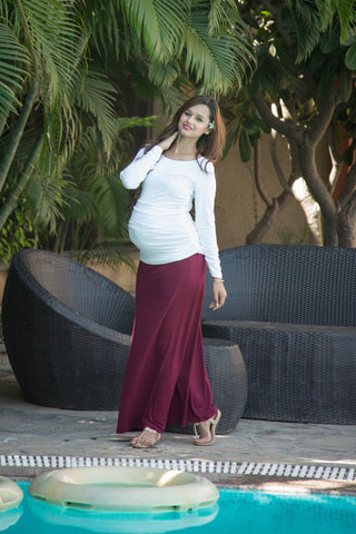 Long Sleeve Gathered Ivory Maternity Top