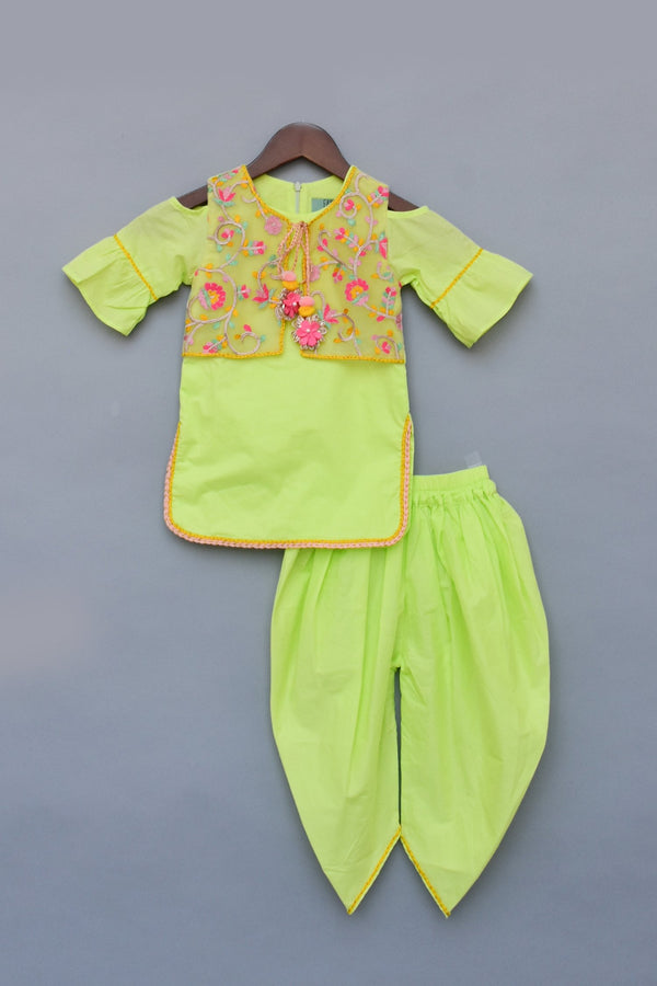 Neon Green Kurti and Dhoti with Embroidery Jacket