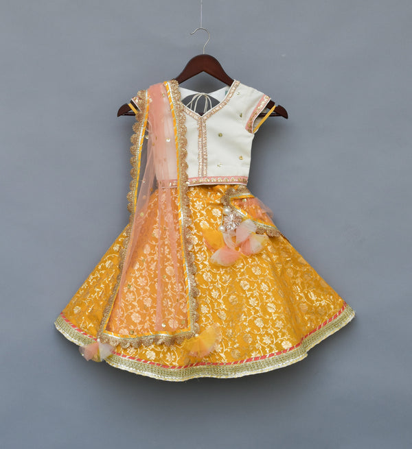 Offwhite Sequence Choli with Yellow Brocade Lehanga