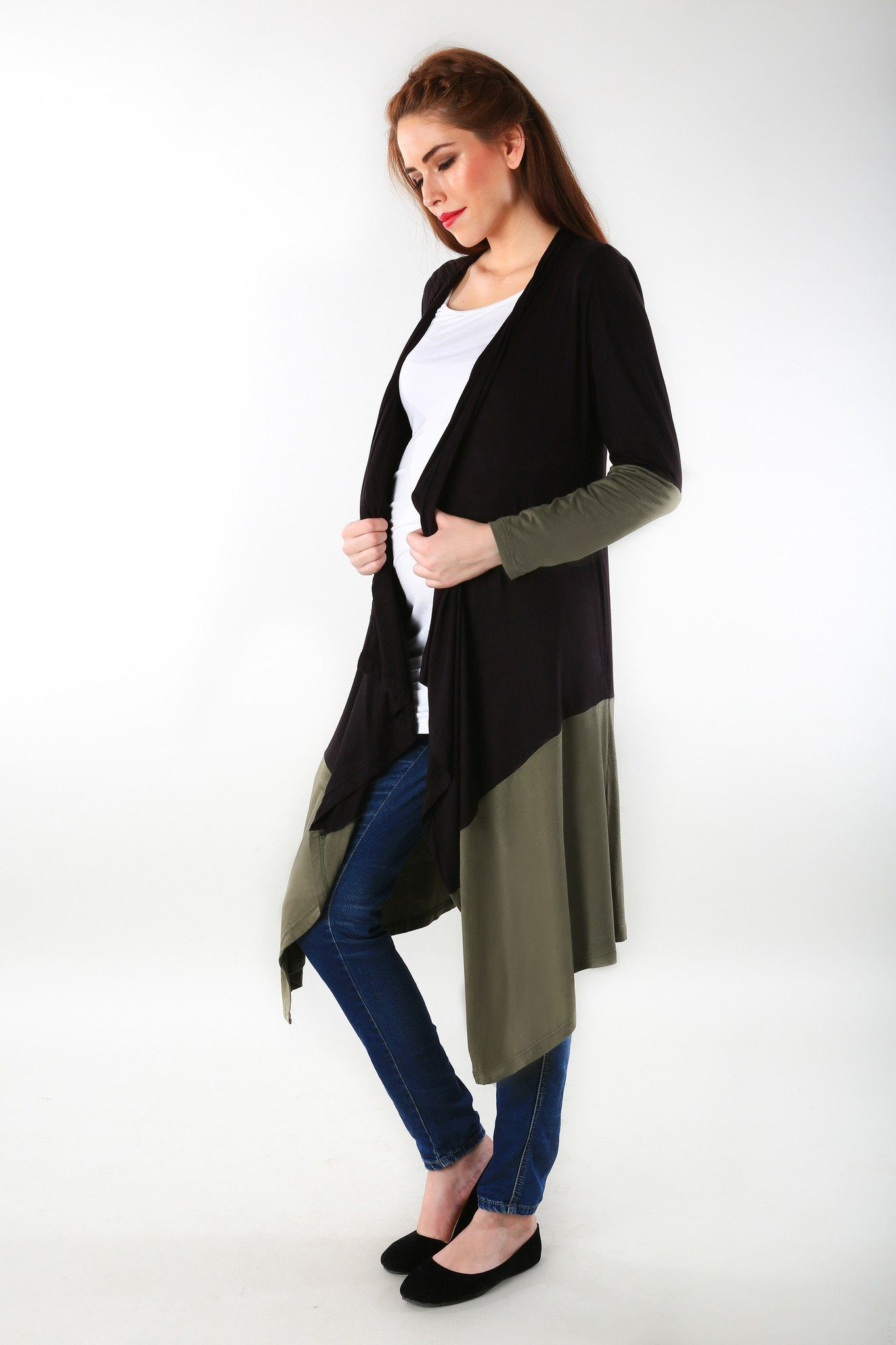 Buy maternity clothes pregnancy wear online india olive contrast stretch maternity cardigan momzjoy 1 ombrellifo Images
