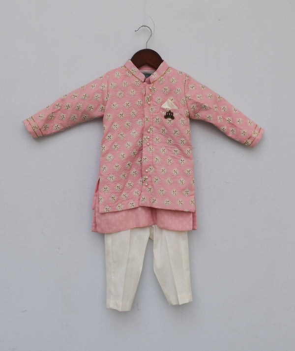 Pastel Pink Embroidery Jacket with Kurta and Pant