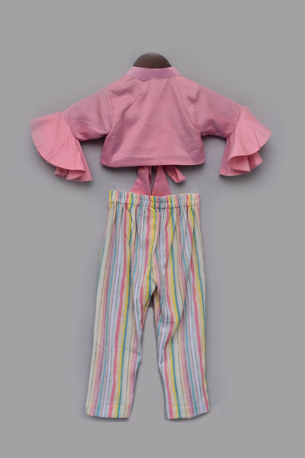 Peach Cotton Silk Top with Stripe Pants