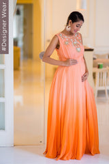 Peach Ombre Star Flower Yoke Designer Maternity Gown (MADE TO ORDER)