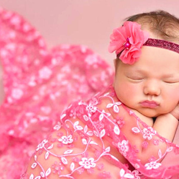 Newborn Pink Lace Crochet Infant Blanket/Scarf - Photography Prop - MOMZJOY.COM