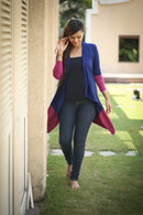Pink Contrast Stretch Maternity Cardigan - MOMZJOY.COM