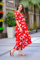 Candy Floral Maternity & Nursing Flair Dress - MOMZJOY.COM