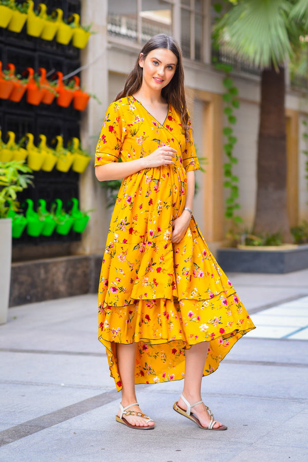 Happy Floral Maternity & Nursing Flair Dress