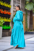 Sky Blue Stretchable Maternity Dress - MOMZJOY.COM