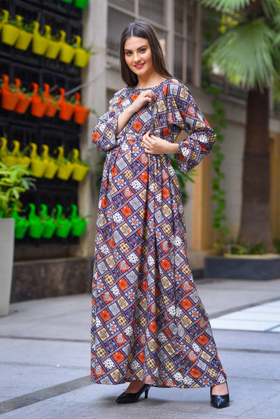 Abstract Multicolor Maternity & Nursing Maxi Dress - MOMZJOY.COM