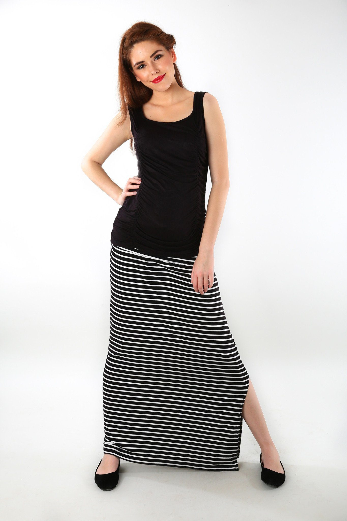 Striped A-Line Maternity Skirt - MOMZJOY.COM - 1