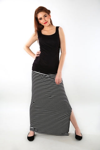 Striped A-Line Maternity Skirt