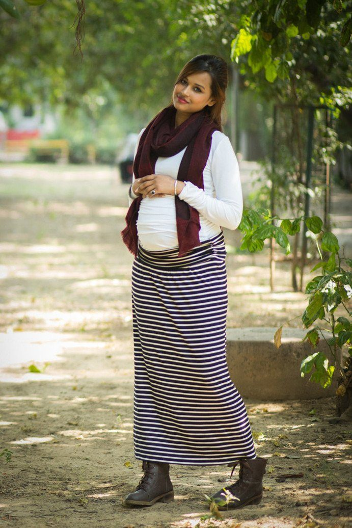 Striped A-Line Maternity Skirt - MOMZJOY.COM - 3