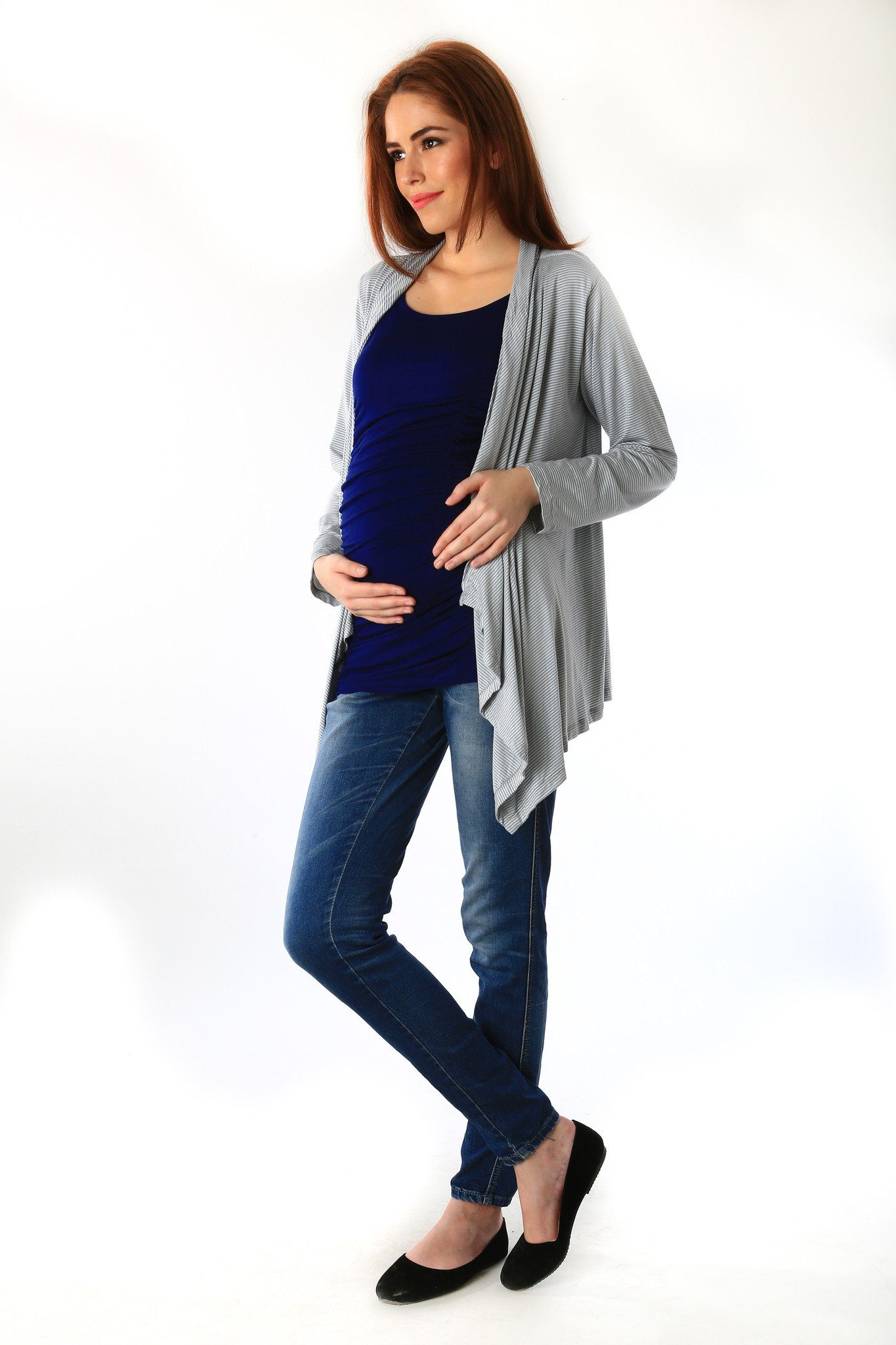 Striped Cascading Maternity Cover Up - MOMZJOY.COM - 2