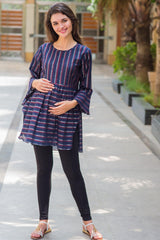 Navy Embellished Striped Nursing Top
