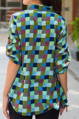 Teal Gathered Plaid Viscose Maternity & Nursing Shirt