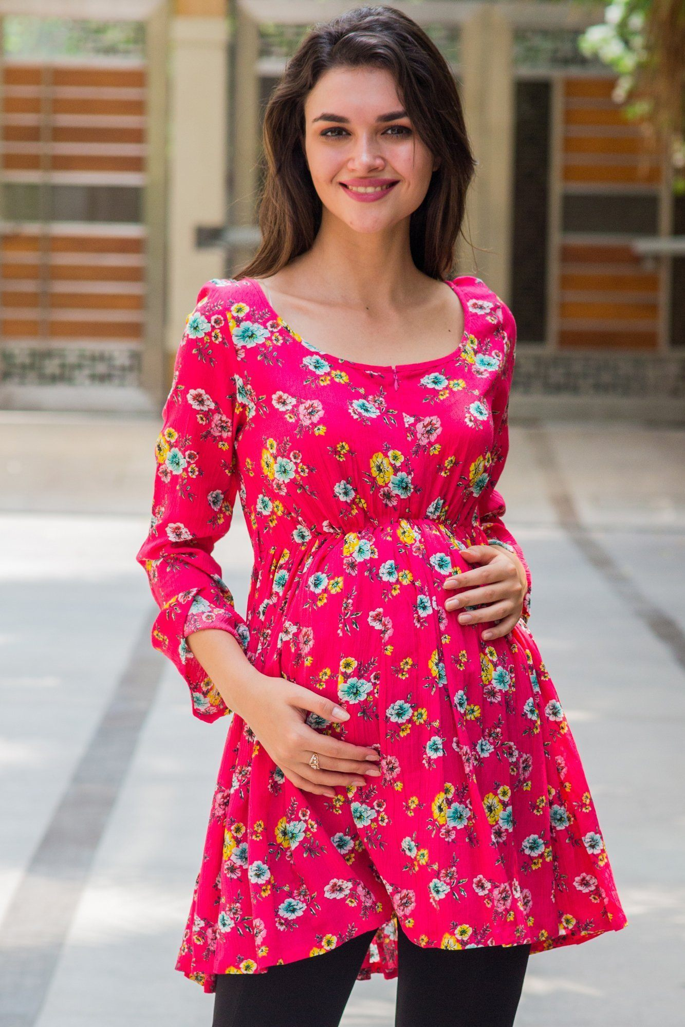 Peony Pink Floral Gathered Bell Sleeves Nursing Top