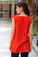 Tangerine Frill Maternity & Nursing Top