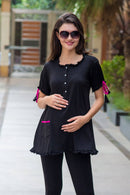 Chic Black Maternity & Nursing Frill Top - MOMZJOY.COM