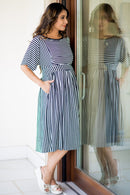 Nautical Striped Maternity and Nursing Tunic - MOMZJOY.COM