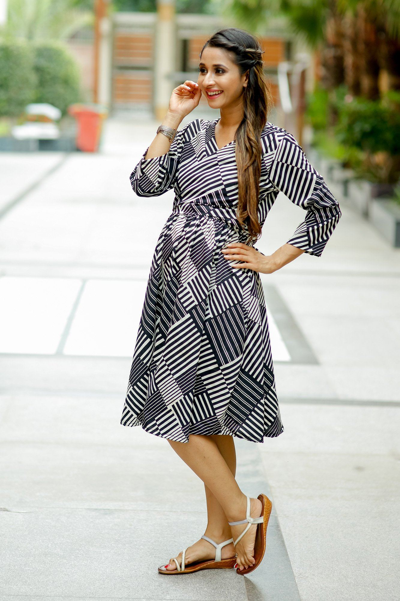 Black Printed Crepe Wrap Tie Maternity & Nursing Dress