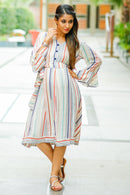 Striped Linen Front Button Maternity & Nursing Dress - MOMZJOY.COM