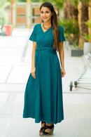 Emerald Front Knot Lycra Maternity Dress - MOMZJOY.COM