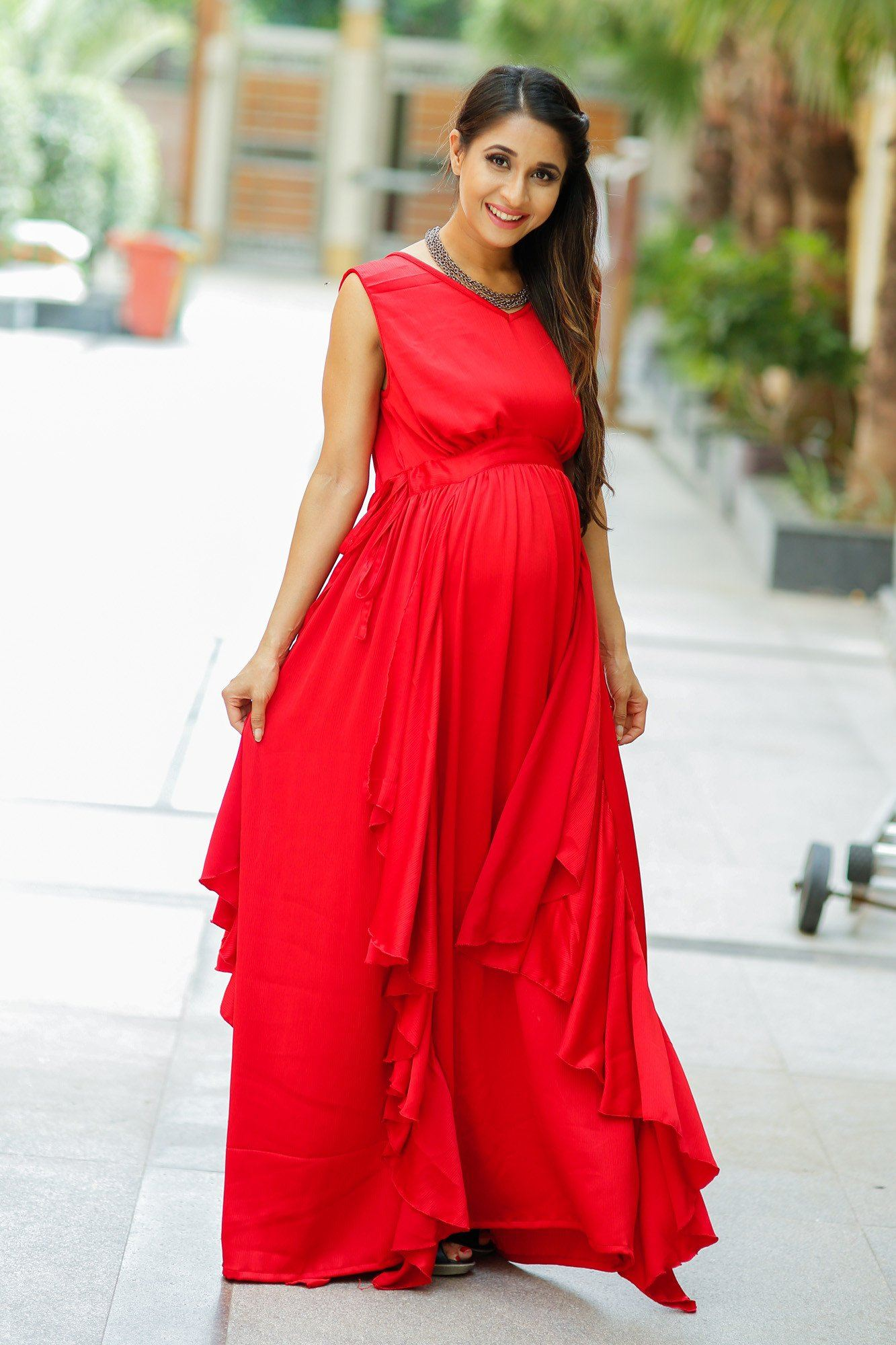 Buy online momzjoy maternity dresses pregnancy wear nursing clothes luxe candy red bubble georgette maternity dress ombrellifo Images