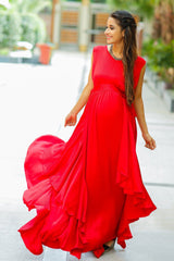 Luxe Candy Red Bubble Georgette Maternity Dress