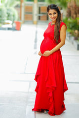 Luxe Candy Red Cascading Maternity Dress