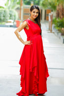 Luxe Candy Red Bubble Georgette Maternity Dress - MOMZJOY.COM