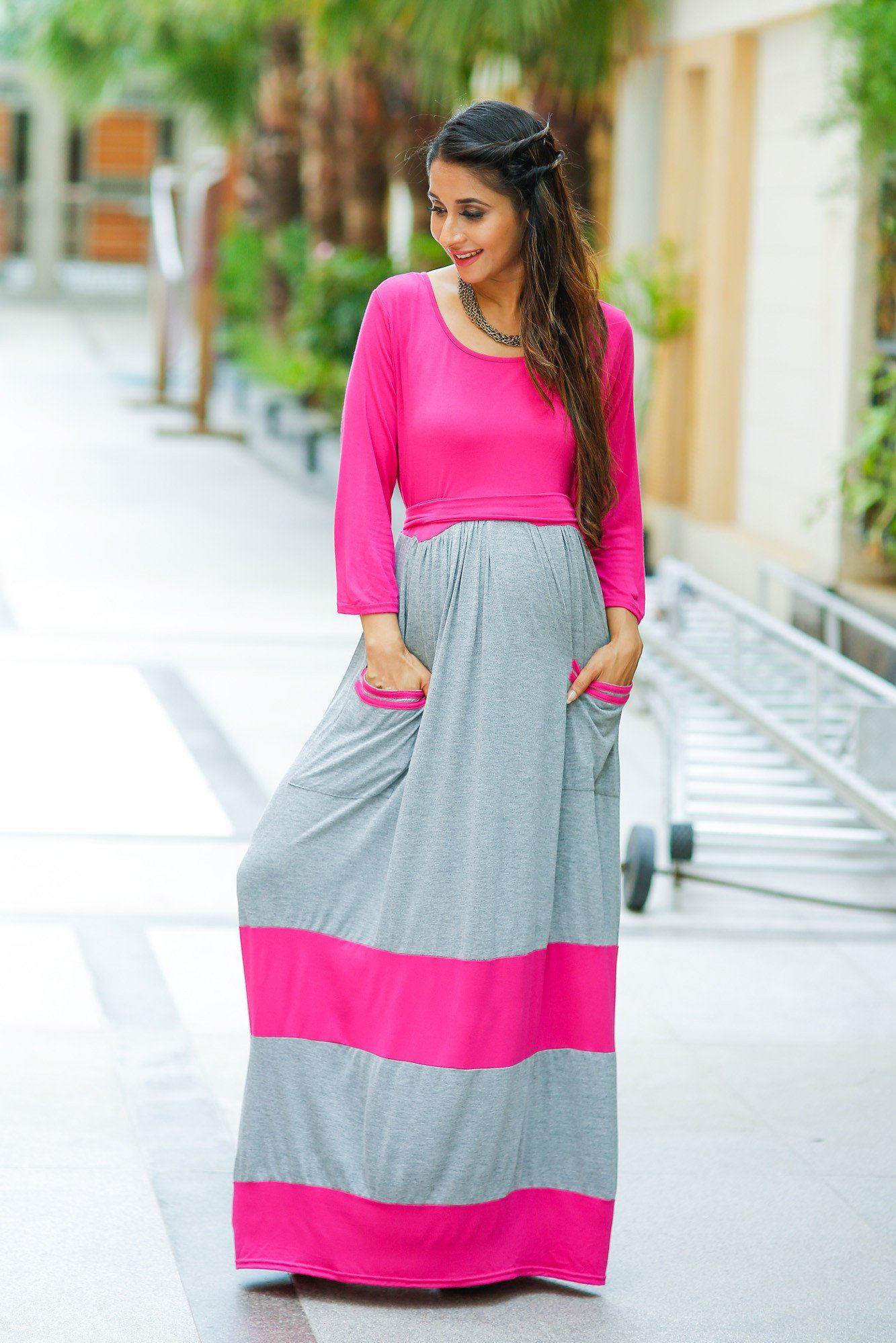Chic Grey & Pink Maternity Maxi