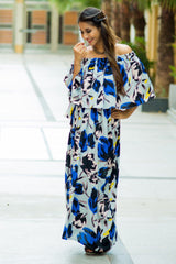Blue Peach Floral Off-Shoulder Maternity Maxi Dress