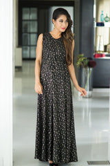 Luxe Gold Embellished Maternity & Nursing Maxi