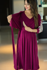 Crochet Berry Wrap Tie Maternity & Nursing Dress