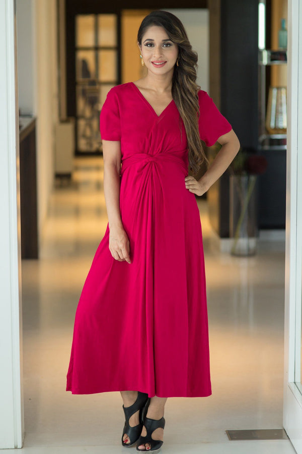 Royal Carnation Front Knot Lycra Maternity Dress - MOMZJOY.COM