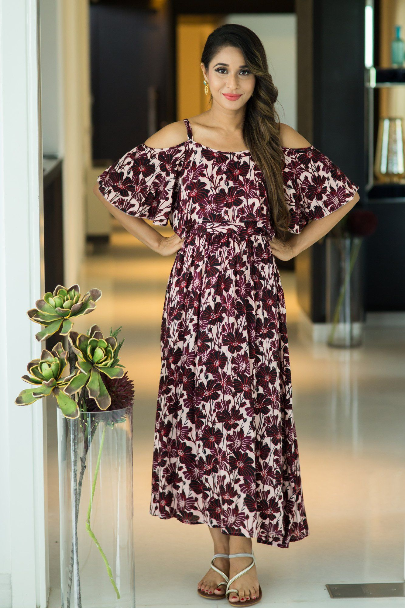 Mulberry Floral Cold Shoulder Maternity & Nursing Maxi Dress