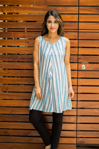Stripe Print Front Zip Maternity & Nursing Top