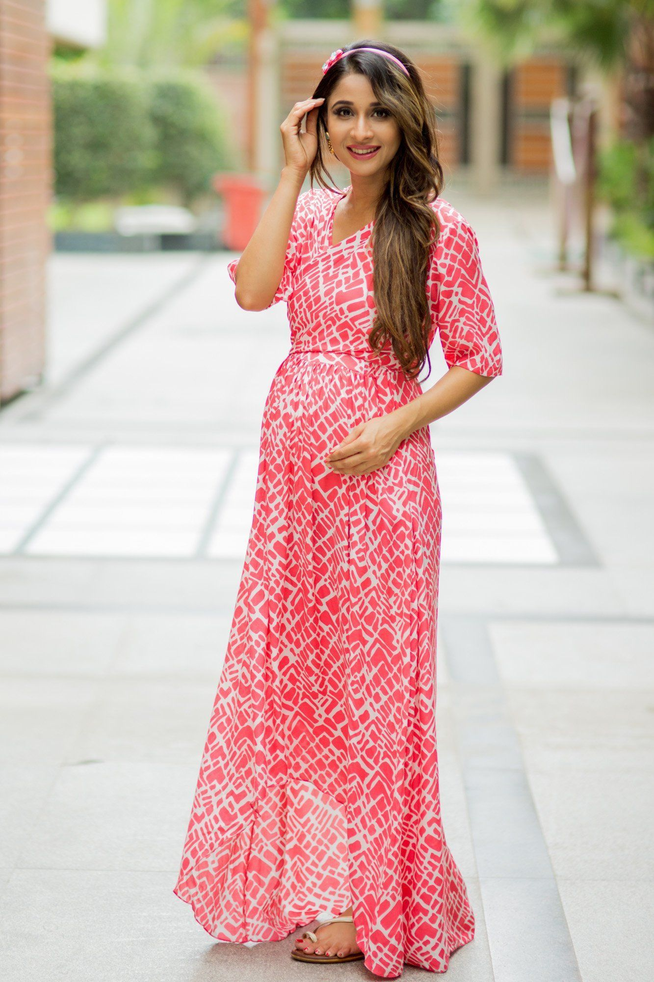 Flamingo Pink Hi-Low Maternity & Nursing Wrap Dress - MOMZJOY.COM