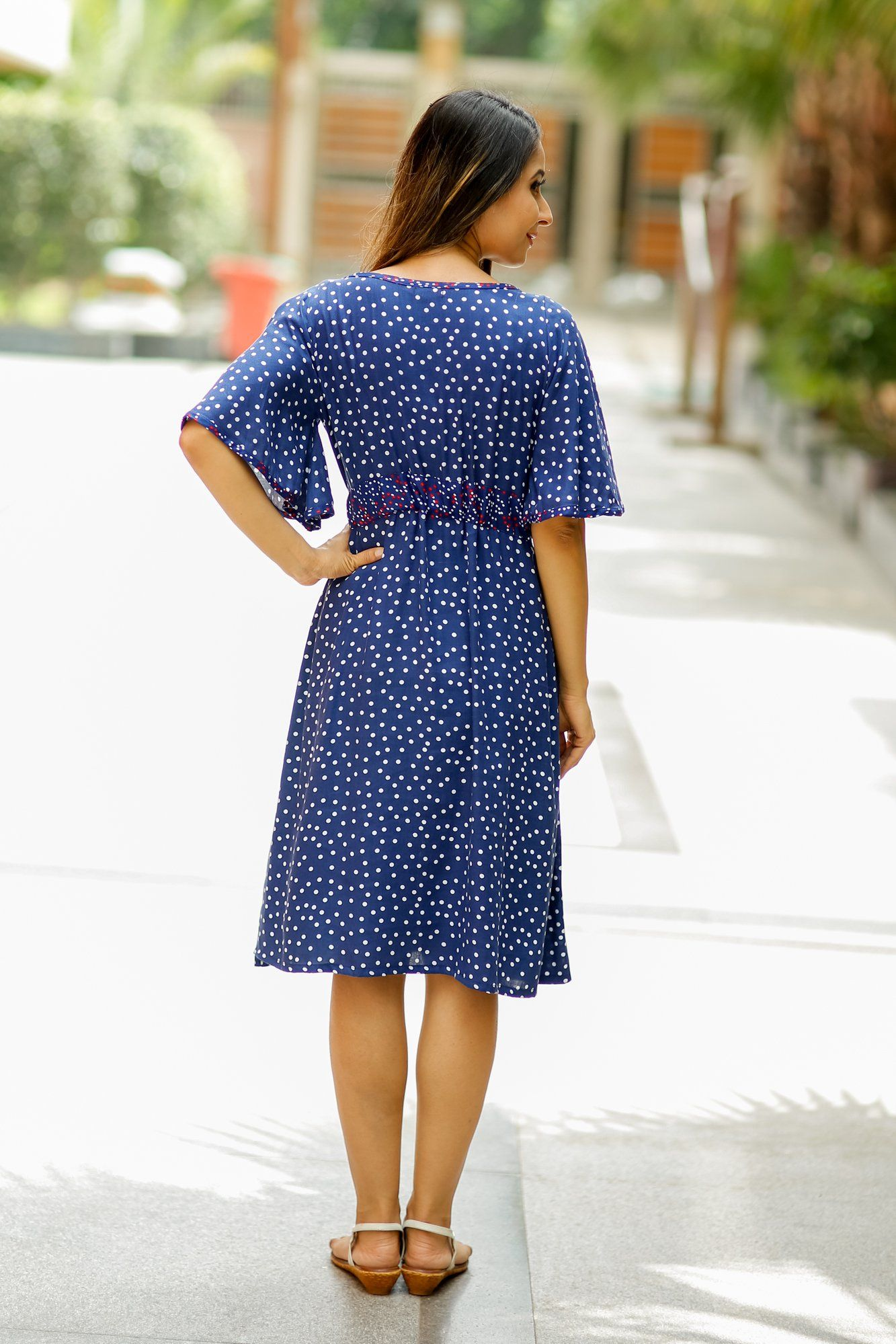 Blue Polka Maternity and Front Button Nursing Swing Dress