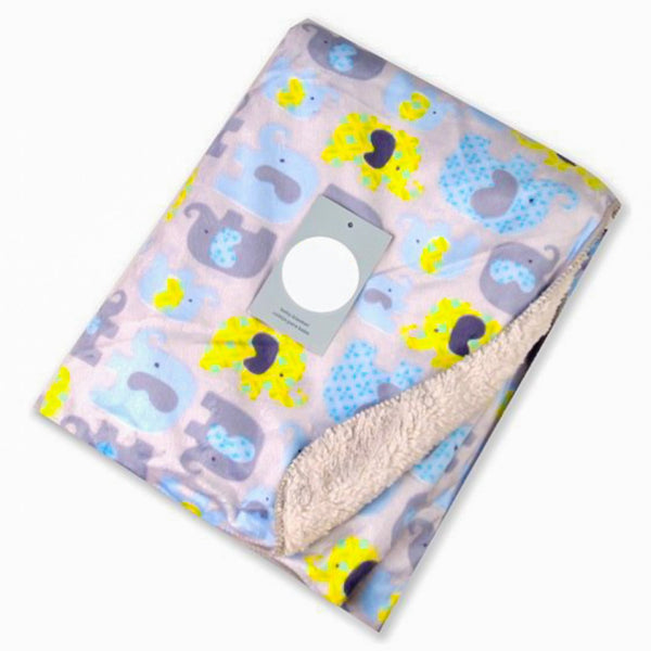 Cute Yellow Blue Elephant New Born Baby Blanket - MOMZJOY.COM