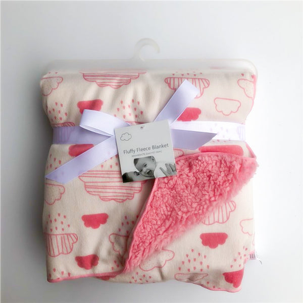 Fluffy Pink Cloud New Born Baby Blanket - MOMZJOY.COM