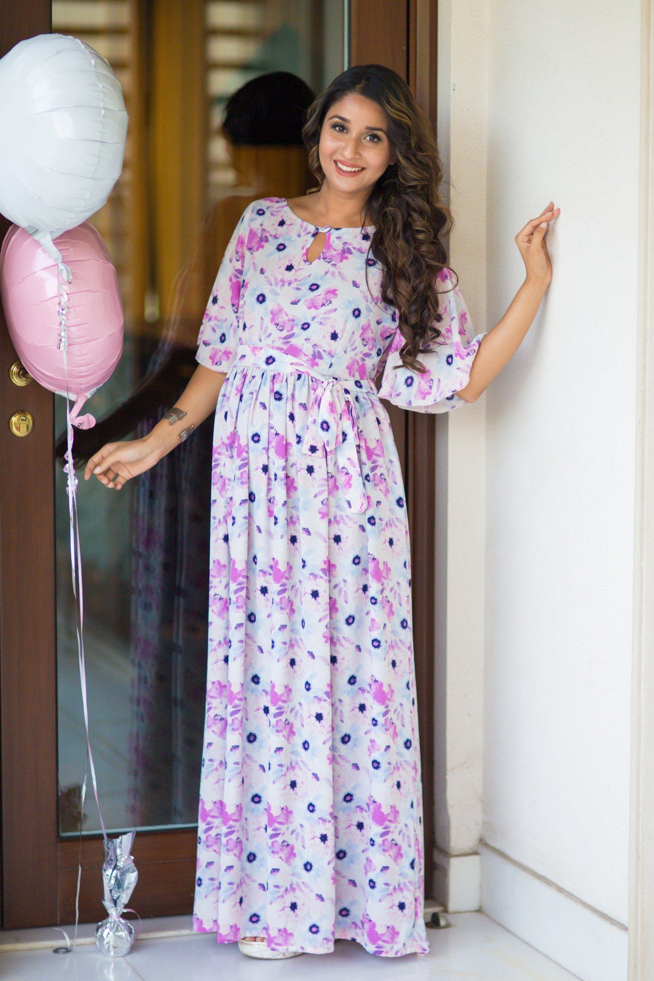 Spring Flower Luxe Maternity Maxi Dress