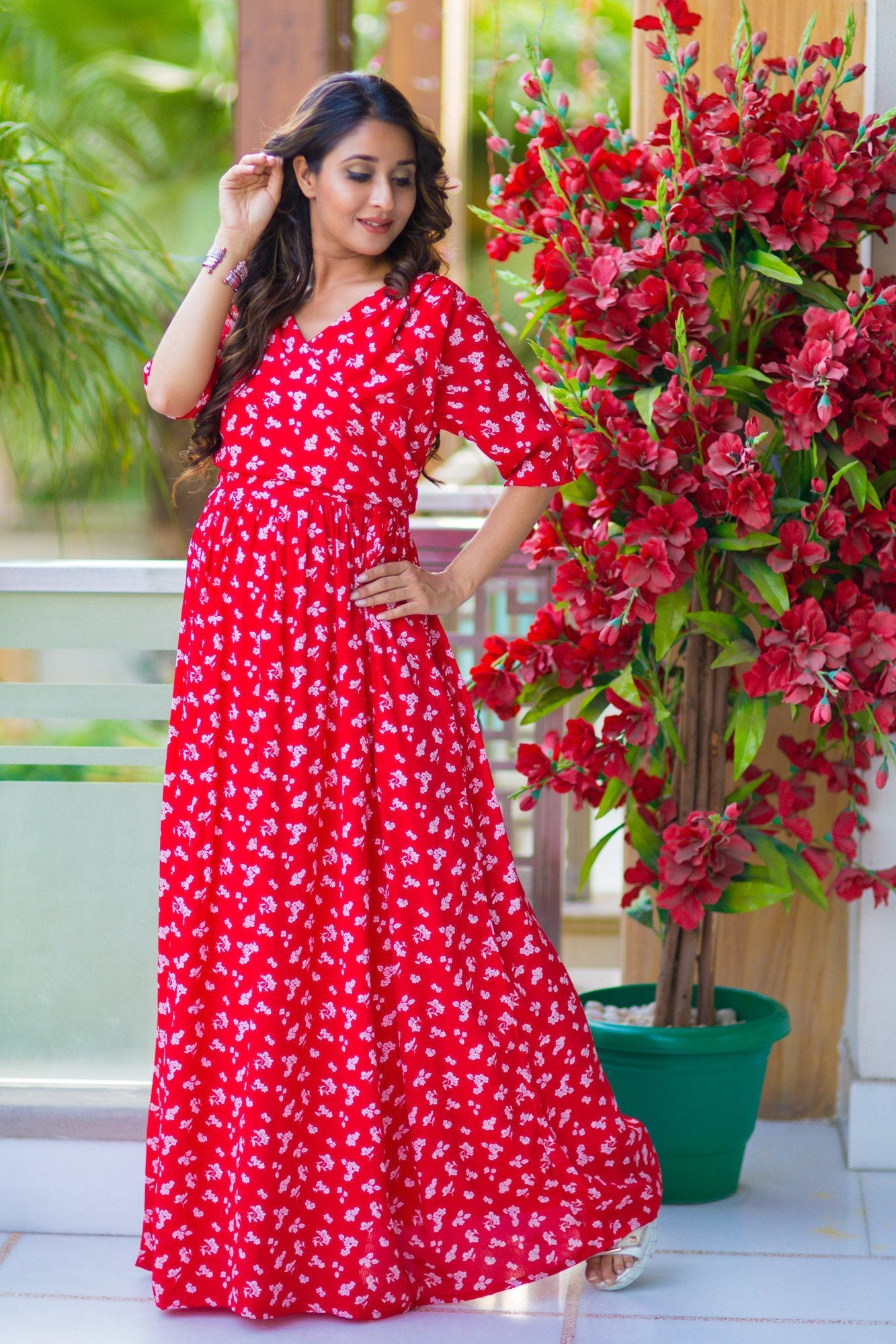 Chic Red Floral Maternity & Nursing Wrap Dress