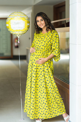 Lime Green Butterfly Maternity & Nursing Wrap Dress