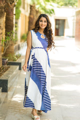 Nautical Printed Crepe Side Slit Concealed Zips Dress