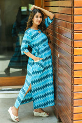 Aqua Ikat Side Slit Concealed Zips Feeding Dress